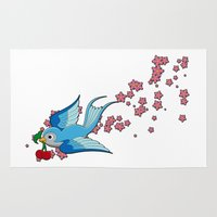 swallow Area & Throw Rugs featuring Blue Swallow by Jelly Roger