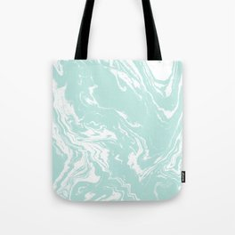 Miya - spilled ink abstract swirl marbled painting marble mint white texture cell phone case Tote Bag