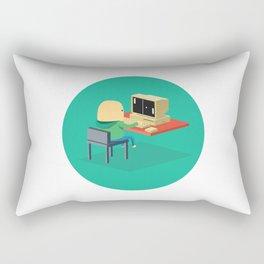 Nerd playing Pong Rectangular Pillow