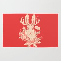jackalope Area & Throw Rugs featuring Jackalope Tattoo by jackalopebuddy