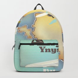 Anglesey Vintage style travel poster. Backpack