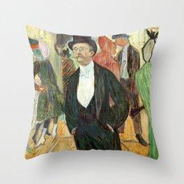 """Henri de Toulouse-Lautrec """"Monsieur Henri Fourcade au Bal de l'Opéra"""" Throw Pillow"""