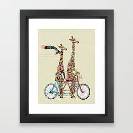 giraffe days lets tandem Framed Art Print