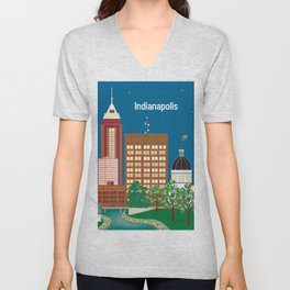 Indianapolis, Indiana - Skyline Illustration by Loose Petals Unisex V-Neck