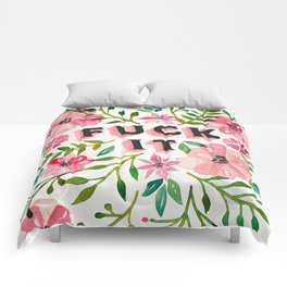 Fuck It – Pink & Green Floral Palette Comforters
