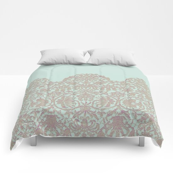 floral lace and soft blue Comforters