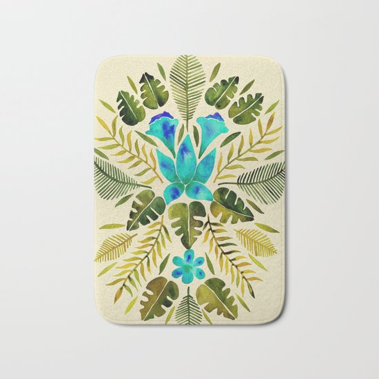 Turquoise Bath Rugs For Dry The Feet Simple Turquoise: Turquoise & Olive Palette Bath Mat By