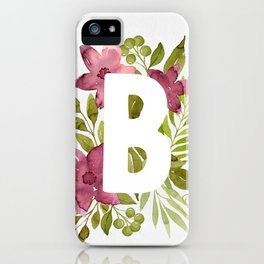 Monogram B with red watercolor flowers and leaves. Floral letter B. iPhone Case