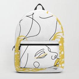 Woman Line Art I Yellow Backpack