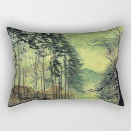 John Atkinson Grimshawn -Near Hackness, A Moonlit Scene With Pine Trees - Digital Remastered Edition Rectangular Pillow