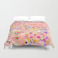 levi Duvet Covers featuring Soft bunnies pink by Fifikoussout