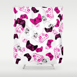 Video Game White & Pink Shower Curtain