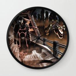 Man walking in a sci-fi city Wall Clock