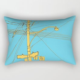 Cables and wires over Queen and Bathurst Rectangular Pillow