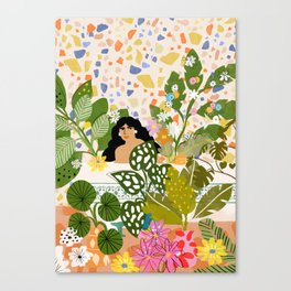 Bathing with Plants Canvas Print