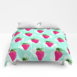 Watercolor Strawberry Comforters