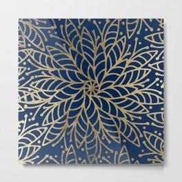 Modern chic navy blue faux gold floral mandala Metal Print