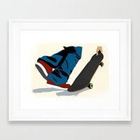 skate Framed Art Prints featuring skate by the lazy pigeon