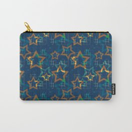 Star . Gold stars on a blue background . Carry-All Pouch