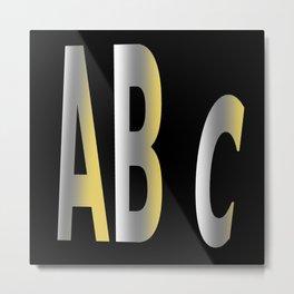 ABC Alphabet with Black Background  Metal Print