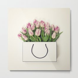Tulips in shopping bag with space for text. Flat lay, top view Metal Print