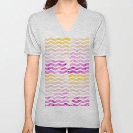 Neon pink yellow watercolor geometric wave pattern Unisex V-Neck