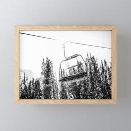 Empty Skilift // Black and White Snowboarding Dreaming of Winter Framed Mini Art Print