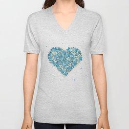 forget-me-nots heart Unisex V-Neck