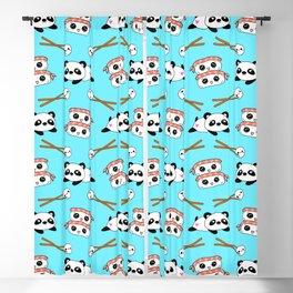 Cute funny Kawaii chibi little playful baby panda bears, happy sweet cheerful sushi with shrimp on top, rice balls and chopsticks light pastel blue pattern design. Nursery decor. Blackout Curtain