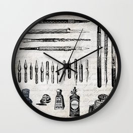 Vintage Office - Ink, Writing & Calligraphy with Script Background Wall Clock