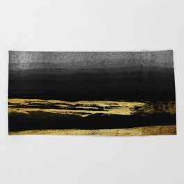 Black & Gold Stripes on White- Mix & Match with Simplicty of life Beach Towel