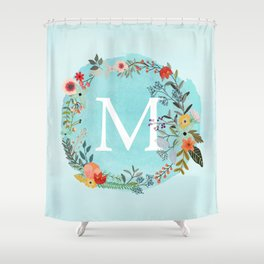 Personalized Monogram Initial Letter M Blue Watercolor Flower Wreath Artwork Shower Curtain