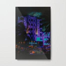 Miami Beach by Night | Fine Art Travel Photography Metal Print