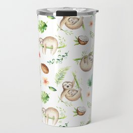 Tropical Sloths Pattern Travel Mug