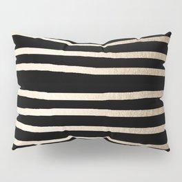 Simply Drawn Stripes White Gold Sands on Midnight Black Pillow Sham