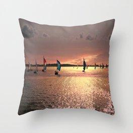 Sunset Sail In Bermuda Throw Pillow