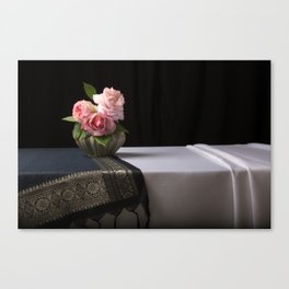 Roses and silk still life Canvas Print