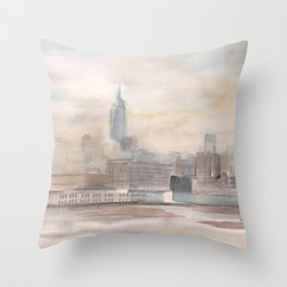 2019 Watercolor New York City Series 004 Watercolor Painting Throw Pillow