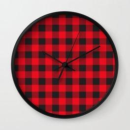 Lumberjack Rustic Buffalo Plaid Wall Clock