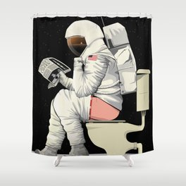 Spaceman On the Toilet Bathroom Restroom Apollo Shower Curtain