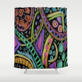 Colorful Abstract Digital Painting on Black Shower Curtain