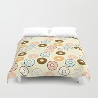 donuts Duvet Covers featuring Donuts by Sara Showalter