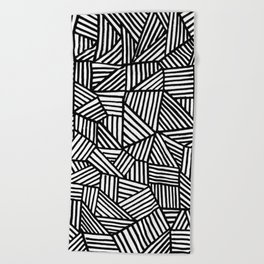 Black Brushstrokes Beach Towel