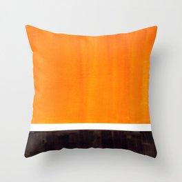 Minimalist Mid Century Modern Color Block Pop Art Rothko Inspired Golden Yellow Black Squares Throw Pillow