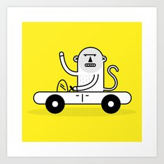 Monkey Car Art Print