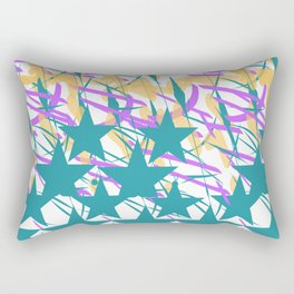 Turquoise Stars & Pastel Streemers Rectangular Pillow
