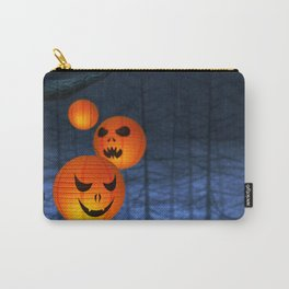 Halloween paper lanterns in a dark and spooky forest Carry-All Pouch