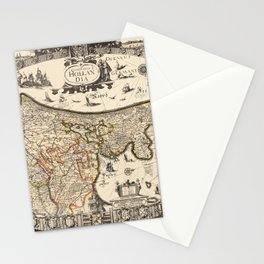 Map Of Holland 1630 Stationery Cards