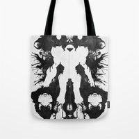 psychology Tote Bags featuring Samus Aran Metroid Geek Psychological Diagnosis Ink Blot  by Barrett Biggers