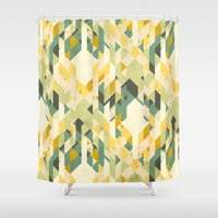 yetiland Shower Curtains featuring des-integrated tartan pattern by Yetiland